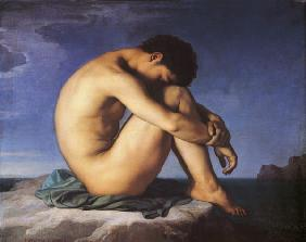 naked young man with head on knees