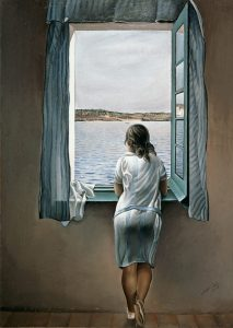 Woman at the window, lonely